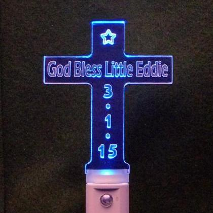 Personalized Cross Shaped LED Night..