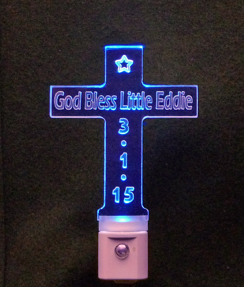 Personalized Cross Shaped LED Night Light