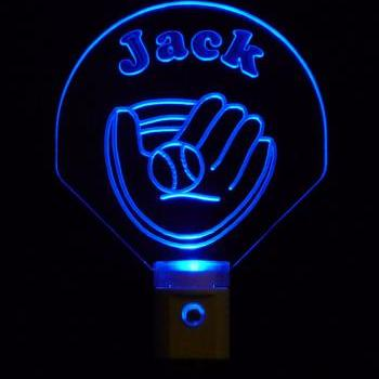 Personalized Baseball Glove Night Light, Customized with name-FREE Shipping to US-