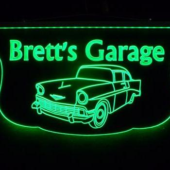 Personalized Man Cave, Garage 57 Chevy Car Sign, Hanging Multi Colored Changing Sign