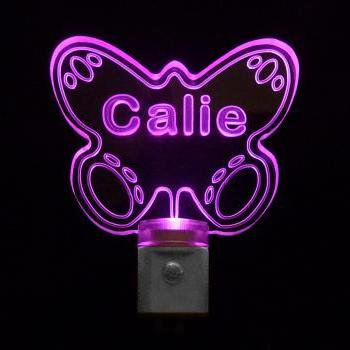 Kids Personalized Butterfly LED Night Light, Customize with name-FREE Shipping to US