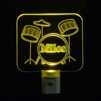 Kids Personalized Drum Setl LED Night Light, Personalized with Name