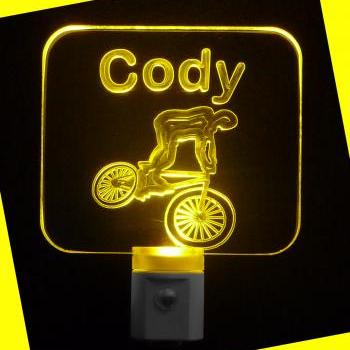 Personalized LED BMX Bike Rider Night Light, Personalized with Name